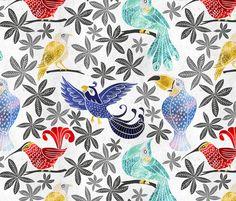 Regenwald. Urwald. Papagei. Tropische Vögel. Design von pinky_wittingslow auf Spoonflower.com | Dein Design auf Stoff, Tapete und Geschenkpapier