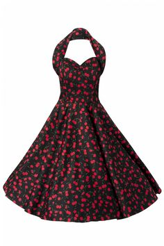 Vivien of Holloway - 1950s Retro halter Cherry Black swing dress cotton sateen