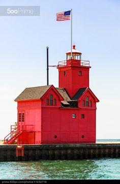 Holland Big Red Lighthouse by Kenneth Keifer