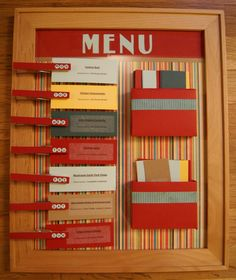 Love this menu idea for a kitchen, but I could totally adapt this for a daily schedule for my classroom!  Stick with days of the week on the pins and put specials, therapies, etc. on the cards; or put times on the pins and subjects/activities on the cards. love it!