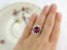 Dragons Breath Opal Ring Red Glass Opal Ring by RedGarnetStudio