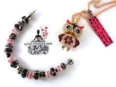 A Betsey Johnson Red and Black Rhinestone Owl Pendant with Matching Love Charms USA Bracelet with Black Murano Glass Beads and Rhinestone Spacers | Love Charms USA