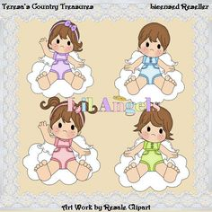 Angels with Brown Hair #Clipart