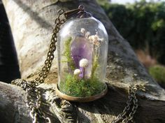 Crystal terrarium necklace amethyst point gift for her by NeatEats