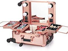 Buy Ovonni Small LED Makeup Train Case, Lighted Rolling Travel Portable Cosmetic Organizer Box with Mirror and 4 Detachable Wheels, Professional Artist Trolley Studio Free Standing Workstation, Rose Gold Makeup Stand, Makeup Box, Makeup Drawer, Diy Makeup, Makeup Tools, Beauty Makeup, Rolling Makeup Case, Makeup Train Case, Taupe Eyeshadow
