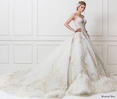 maison yeya 2017 bridal strapless sweetheart neckline heavily embellished bodice princess glamorous ball gown wedding dress open v back royal train (10) sdv
