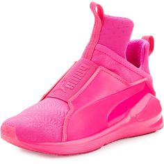 Fenty Puma By Rihanna Fierce Embossed High-Top Sneaker ($100) ❤ liked on Polyvore featuring shoes, sneakers, pink glo, shoes sneakers, pink platform sneakers, pink shoes, puma shoes, puma sneakers and patent leather sneakers