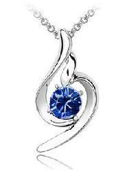 18K GP Cobalt Blue Swarovski crystal pendant necklace