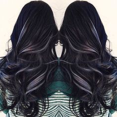"""Mermaid Unicorn Hairstyles  on Instagram: """"Smoked Out Black and Silver! Hair by: @dougoconnell13 ⚓️ #Mermaidians ⚓️"""""""