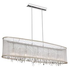 5 Light Horizontal Crystal Chandelier, Polished Chrome, Oyster Organza Oval Shade