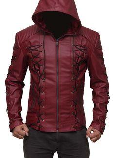 Roy Harper Maroon Arrow Jacket, Men Leather Jacket, Celebrity Jackets for Men - Outerwear