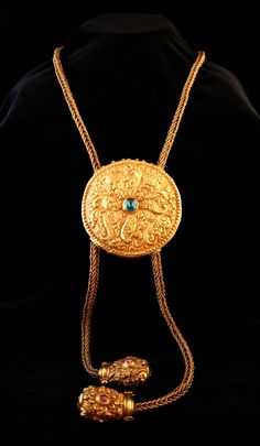 Khmer Gold Necklace Inlaid with an Emerald and Two Rubies - CK.0034 Origin: Southeast Asia Circa: 12 th Century AD to 14 th Century AD