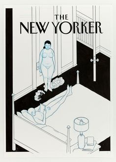 """warning! nudie people!    Oak Park Magazine - Affection (False New Yorker Cover) by Chris Ware  Ink, blue colored pencil on paper, 2012. 29"""" x 20.25""""  From the exhibitionChris Ware: Building Stories, presenting 126 original drawings by Chris Ware"""