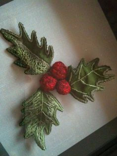 Small Stumpwork holly project - perfect for Christmas stitching!