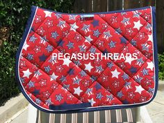 Stars and Stripes All Purpose, AP, English Saddle pad handmade by Pegasusthreads.