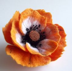 Felted Flower Brooch Hair Clip Wool Felt Jewelry ♥ by FeltFatal