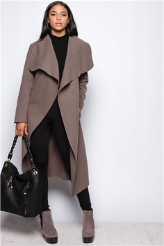 886f5e3150a63 Evie Mocha Long Length Waterfall Coat at misspap.co.uk Trench Coat Outfit