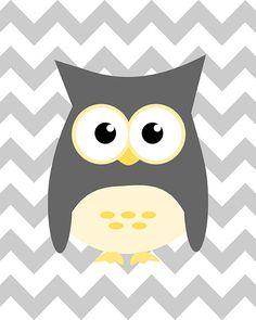 Owl on gray chevron design - nursery art wall decor - digital print - 8x10 on A4. €12.00, via Etsy.