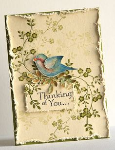 handmade card from Susan Smit ... Vintage shabby chic look ... vanilla paper with olive stamped and shadow stamping flowering folliage ... luv the watercolored two step punched bird ... Stampin' Up!