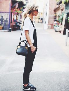 On Mary Seng of Happily Grey: Sandro T-shirt; Hudson Jeans London Overalls ($245) in Night Train; Nike Free 5.0 TR Fit 4 Training Shoes ($100) in Black/Cool Grey/White; Madewell Hepcat Shades...