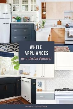 If you think white appliances have to look dated, think again. The beautiful design-savvy kitchens featured in this post are prime examples of how white appliances add a light, clean, and fresh look to a kitchen when used in an intentional way. White Kitchen Appliances, Kitchen Appliance Storage, Black Kitchen Cabinets, All White Kitchen, Painting Kitchen Cabinets, Black Kitchens, New Kitchen, Kitchen Decor, Kitchen Ideas