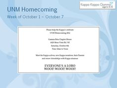 Sisters, Join us to Celebrate UNM's Homecoming.  Open House this Saturday 10-Noon at the Gamma Beta Chapter House