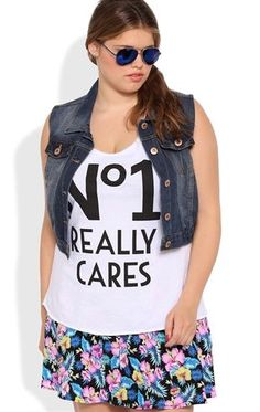 Deb Shops Plus Size Racerback Tunic Tank with No1 Really Cares Screen $15.00