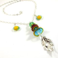 Glass Necklace  Lampwork Necklace  Jellyfish by SariGlassman, $67.00