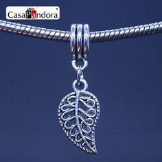 CasaPandora 925 Plated Hollow Pierced Leaf Shape Pendant Fit Bracelet Charm DIY Bead Jewelry Making Pingente Berloque