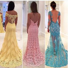 """""""Which one? Yellow, pink or blue? Love lace ! Dresses by Isabela Narchi #NigerianWedding #NWglam"""""""