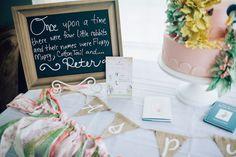Signage | Beatrix Potter's Peter Rabbit Inspired Birthday Party | Cake by The Mischief Maker, Alex Narramore | Natasha Raichel Photography
