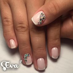 Beautiful new year's nail, Christmas nails, Evening french manicure, Fall nail ideas, Fashion autumn nails, French manicure, French manicure ideas 2017, Gentle french nails