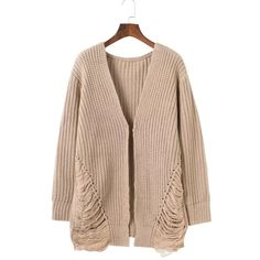 Casual Solid Long Sleeve Knit Sweater Cardigan ($51) ❤ liked on Polyvore featuring tops, cardigans, beige, white knit top, print top, white long sleeve top, white top and long sleeve tops