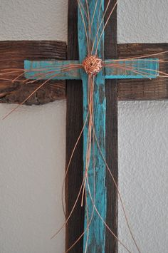 Rustic Reclaimed Wood Art | Rustic reclaimed wood cross with copper wire by heartifactsgallery, $ ...