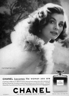 1959 Chanel No. 5 advert starring Suzy Parker: Chanel becomes the woman you are…