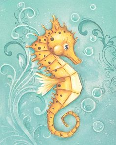 Bubbly Sea Horse Canvas Reproduction by Wallflower Art Boutique, Canvas Reproductions, Art for Children