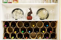 Wine Rack Out of Mailing Tubes