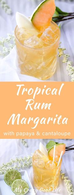 This tropical rum margarita will take you straight to the islands. Mouthwatering papaya, sweet cantaloupe, and a splash of rum make the perfect boat drink. Fun Cocktails, Summer Drinks, Cocktail Drinks, Fun Drinks, Mixed Drinks, Alcoholic Drinks, Tequilla Cocktails, Beach Drinks, Cocktail Ideas