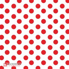 Red polka dots on a white background. A great backdrop for your Canada Day photo shoots, Valentine's Day or just for fun! Order online at www.backdropscanada.ca