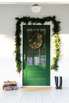 green doors, winter, back doors, door colors, christmas, front doors, holidays, garlands, country farmhouse