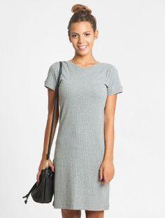 Vestido Glamour Collection Canelado Cinza Mescla - Glamour