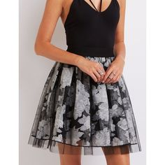 Charlotte Russe Floral Tulle Overlay Skirt ($9.99) ❤ liked on Polyvore featuring skirts, black combo, tulle skirt, flower print skirt, layered skirt, knee length tulle skirt and overlay skirt