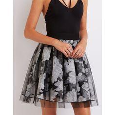 Charlotte Russe Floral Tulle Overlay Skirt ($9.99) ❤ liked on Polyvore featuring skirts, black combo, tulle skirt, flower print skirt, layered skirt, knee length tulle skirt and overlay skirt