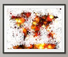 World map paint splashes bronze by michael tompsett map painting paint splashes map of the world map art print 2044 gumiabroncs Gallery