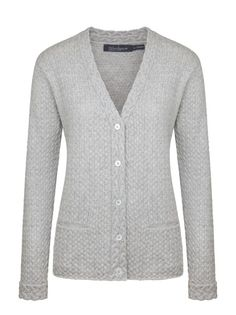 Ladies wool cashmere 'Rathnew Cardigan' - Silver, by Irelands Eye Knitwear Autumn Winter 2014/15.