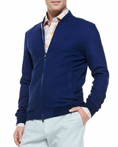 Cotton/Silk Baseball Jacket, Navy  by Isaia at Neiman Marcus.