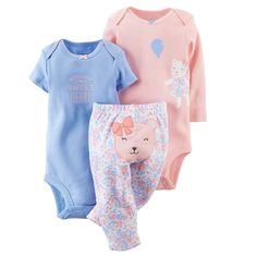 Animal Bodysuit & Floral Pants 3 Pc Set - 12 Months NWT Baby Girl Carter's  #Carters #Everyday