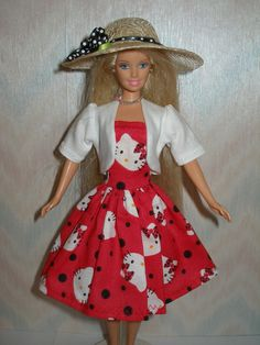 Handmade Barbie doll clothes Red and White by TheDesigningRose