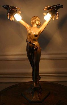 rare art nouveau lamp, featuring a classically influenced maiden holding two flower heads, France, 1900