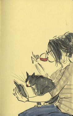 by Angie Stevens reading a book with cat
